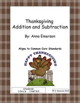 Thanksgiving Addition and Subtraction Math Worksheets