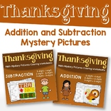 Addition And Subtraction Worksheets Color By Number Thanksgiving Math Sheets