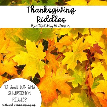Thanksgiving Addition and Subtraction Riddles