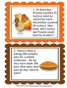 Thanksgiving Addition and Subtraction Task Cards
