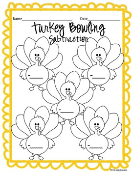 Thanksgiving Addition and Subtraction Turkey Bowling