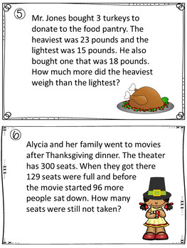 Thanksgiving Addition and Subtraction Word Problem Scavenger Hunt