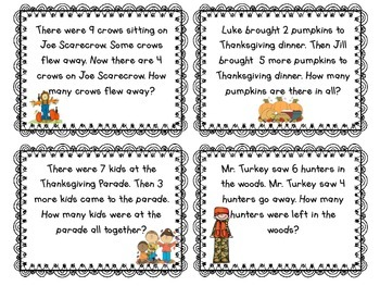 Thanksgiving Addition and Subtraction Word Problems