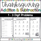 Thanksgiving Addition and Subtraction Worksheets for 2nd Grade
