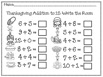 Thanksgiving Addition and Subtraction to 10 Write Around the Room