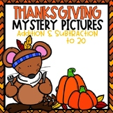 Thanksgiving Addition and Subtraction to 20 Mystery Pictures