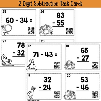 Thanksgiving Two Digit Addition and Subtraction with Regrouping Task Cards