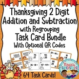Thanksgiving Two Digit Addition and Subtraction with Regrouping Task Card Bundle