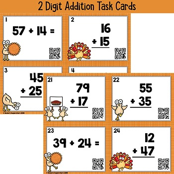 thanksgiving two digit addition and subtraction with regrouping task card bundle. Black Bedroom Furniture Sets. Home Design Ideas