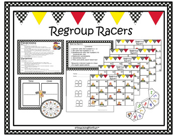 Thanksgiving Addition and Subtraction with Regrouping (Regroup Racers)