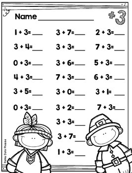 Thanksgiving Addition to 10 Printables and Assessments