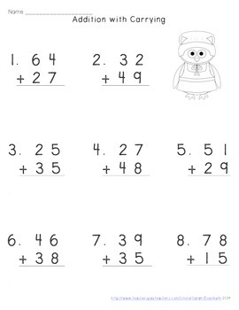 Thanksgiving Addition with Carrying Worksheets