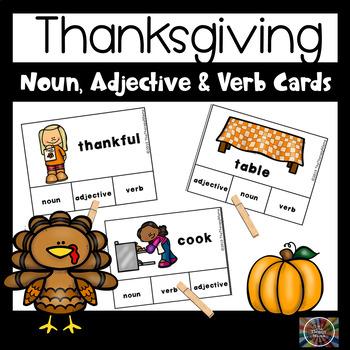 Thanksgiving Adjective, Noun and Verb Task Cards