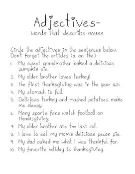 Thanksgiving Adjectives Mini Lesson