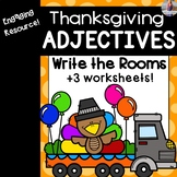 Thanksgiving Adjectives Write the Room + Worksheets [[2 sets]]
