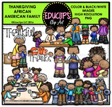 Thanksgiving African American Family Clip Art Bundle {Educlips Clipart}