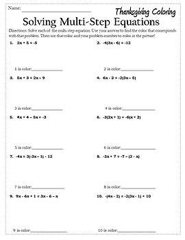 Thanksgiving Algebra Activities Equations {Thanksgiving Algebra 1 & 2 Worksheet}