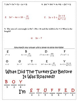 Thanksgiving Algebra 2 Polynomials Activity {Dividing Polynomials Practice}