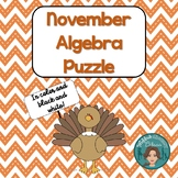 Thanksgiving Math Algebra Puzzle for the middle and high s