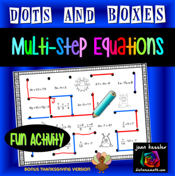 Thanksgiving Algebra with Multi Step Equations Fun Game Dots and Boxes