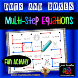 Multi Step Equations Dots and Boxes Fun Game Plus Bonus Thanksgiving Version