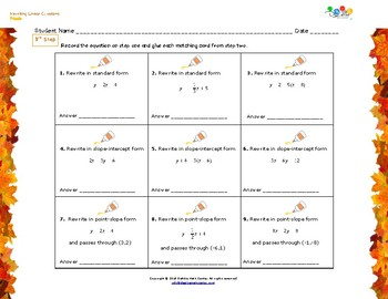 Thanksgiving  Algebra Puzzle - Rewriting Linear Equations