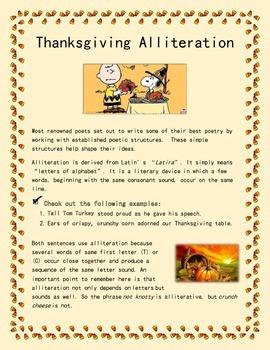 alliteration poem template - thanksgiving alliteration poem seasonal poetry by