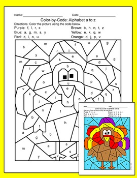 Thanksgiving Activities - Alphabet Color by Code Bundle