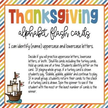 Thanksgiving Alphabet Flash Cards
