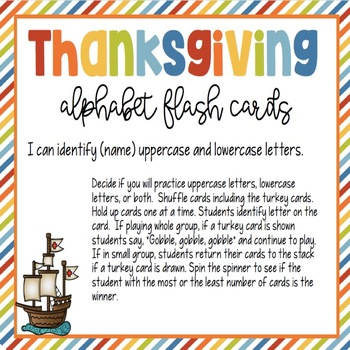 Thanksgiving Alphabet Flash Cards