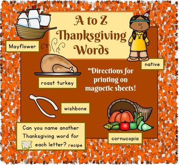 Thanksgiving Alphabet Magnetic Activities