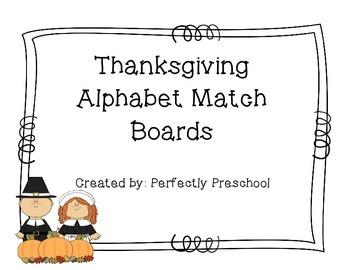 Thanksgiving Alphabet Match Boards