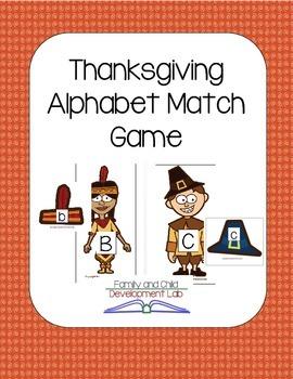 Thanksgiving Alphabet Matching Game