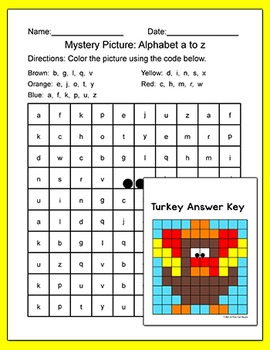 Thanksgiving Activities Alphabet Mystery Pictures: Letter Recognition Worksheets