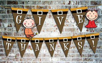 Thanksgiving Alphabet Pennants • Pilgrim Theme 41 Files Clip Art • 10 In. High