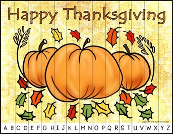 Thanksgiving Alphabet Puzzles FREEBIE