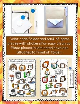 Thanksgiving Alphabet Sort & Match File Folder Game