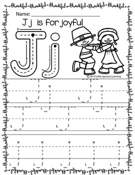 Thanksgiving Alphabet Tracing pages (Print Handwriting Practice)
