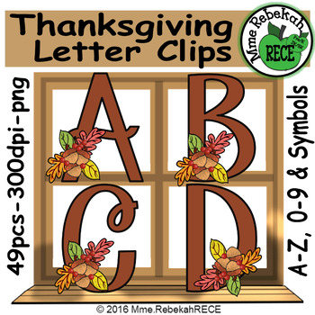 Thanksgiving Alphabet and Number Clip Set Commercial and Personal Use