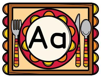 Thanksgiving Alphabet letter Mats - Playdough, Mini Erasers, Tracing