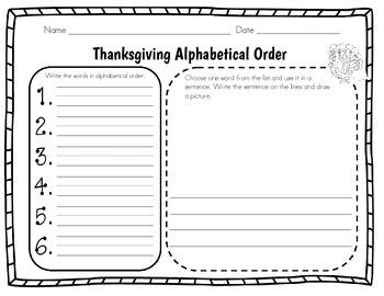 Thanksgiving Alphabetical Order