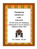 Thanksgiving Alphabetical Order Cards