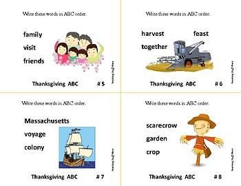 Thanksgiving Alphabetical Order ... Grades 3-4-5 Vocabulary