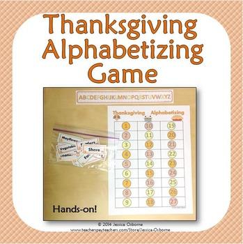 Thanksgiving Alphabetizing Game
