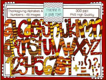 Thanksgiving Alphabets, Borders, and Papers Bundle Clip Art for Commercial Use
