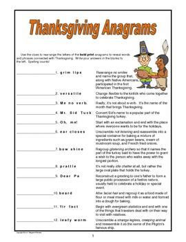 Thanksgiving Anagrams