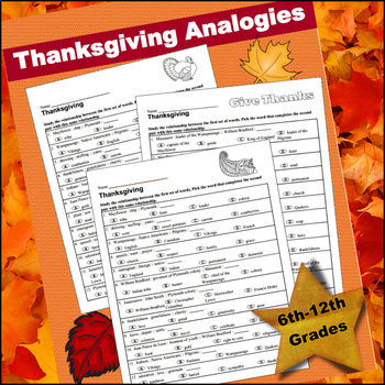 Thanksgiving Analogies (6th - 12th Grades)
