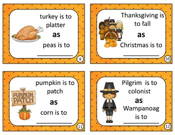 Analogies Task Cards for Grades 1-3