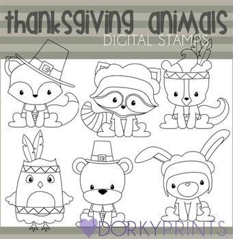 Thanksgiving Animals Black Line Clip Art