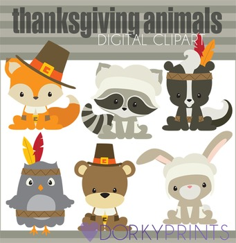 Thanksgiving Animals Digital Clip Art